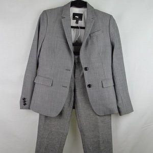 Banana Republic Petite Ryan Grey Pant Suit Sz 2P